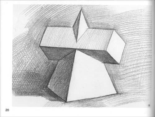 单个石膏几何体素描步骤